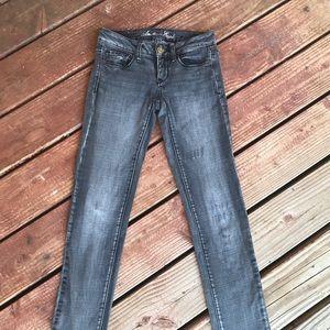 BOGO! AEO skinny stretch gray jeans size 0